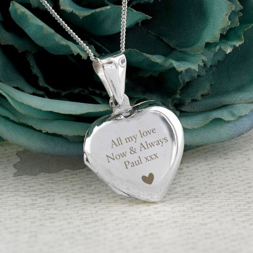 Personalised Sterling Silver Heart Shape Locket Necklace Gift